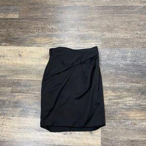 Reiss Black Drape Bodycon Pleat Waistabnd Skirt